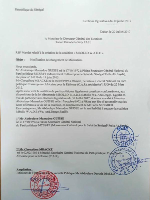"""Dernière minute: Farba Senghor destitué à la tête de la coalition """"Mbolo Wade""""(Document )"""