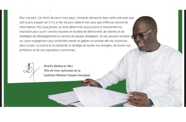 """Khalifa Sall écrit encore aux Sénégalais : """"Je vous remercie"""" (DOCUMENT)"""