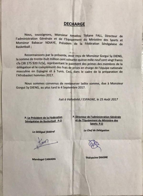 Gorgui Sy Dieng déçu de l'actuel régime: Il réclame ses 38 millions à l'Etat (Document)
