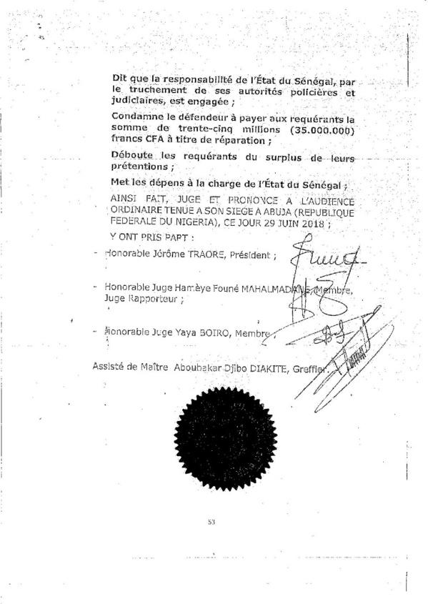 Affaire Khalifa Sall: voici l'intégralité de l'arrêt de la CEDEAO