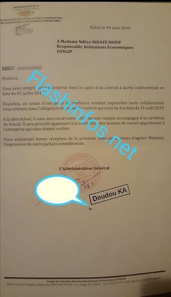 FONGIP: Voici la lettre de licenciement de Ndèye Ndiaye Atlanta...