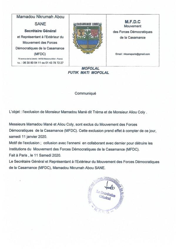 Activité fractionniste: Le MFDC vire deux de ses lieutenants