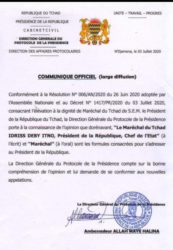 TCHAD: Idriss Déby se proclame... Maréchal