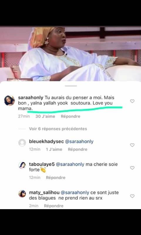 La réaction de la fille de Ndella Madior: «Maman tu aurais dû penser à moi »