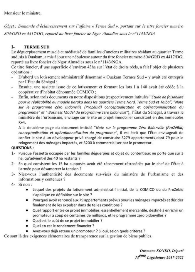 """Assemblée nationale: Sonko dépose deux questions écrites sur l'affaire """"Terme Sud et la cession de biens immobiliers appartenant à l'Etat"""""""