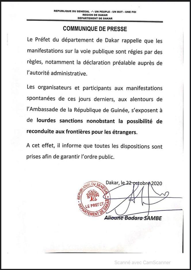 Manifestation contre Condé: Le préfet Dakar menace d'expulser les guinéens qui..