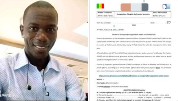 Matam: Un professeur d'Anglais relevé de ses fonctions pour avoir proposé un sujet sur Sonko