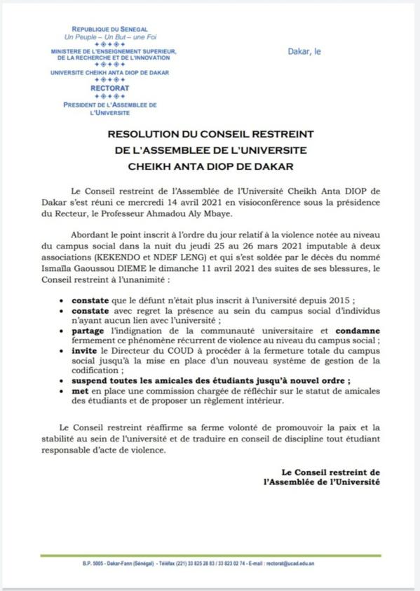 Violence à l'UCAD : Le conseil restreint suspend toutes les amicales (Document)