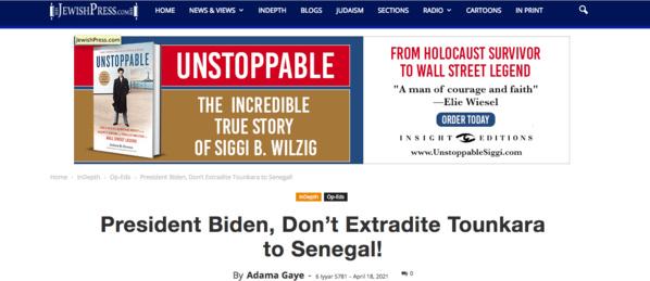 "Extradition de Tounkara: le puissant média juif, ""The Jewish Press"" demande à Biden de s'y opposer"