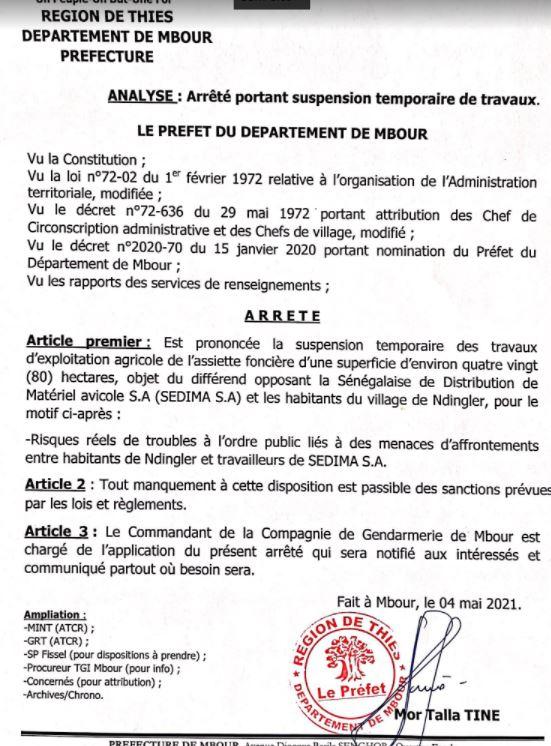 Ndingler : Le préfet de Mbour suspend temporairement les travaux d'exploitation agricole