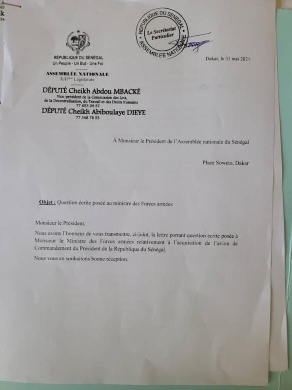 Avion présidentiel : La correspondance des députés !