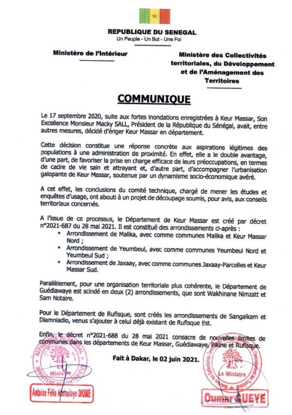 Keur Massar devient le 5e département de Dakar