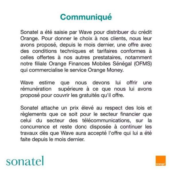 PLAINTE DE WAVE : L'Artp recadre la Sonatel