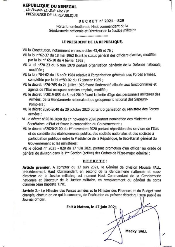 Le Général Jean Baptiste Tine remplacé à la tête de la Gendarmerie nationale (Document)