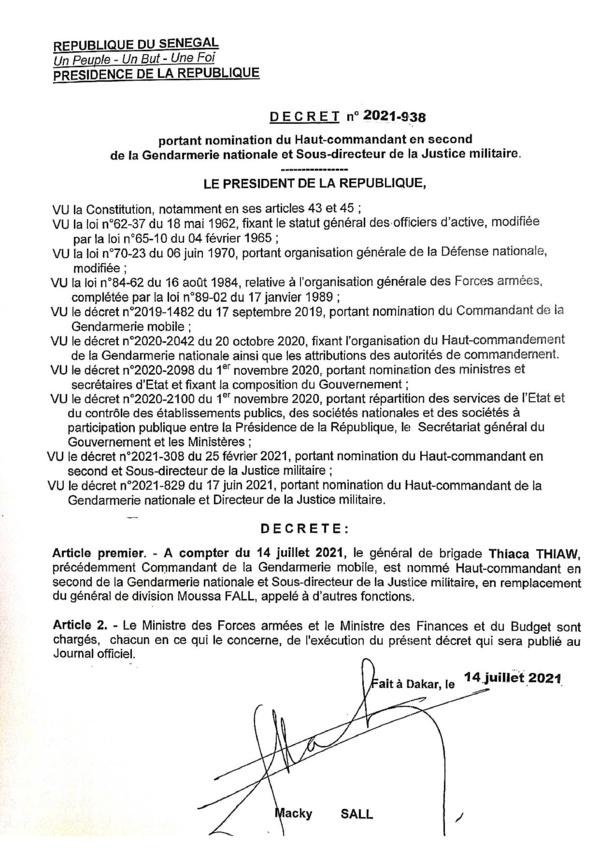 Le général de brigade, Thiaca Thiaw nommé, Haut commandant en second de la gendarmerie et sous directeur de la justice  militaire