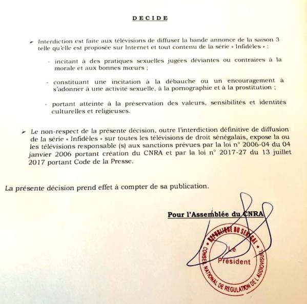 """PLAINTE DE L'ONG JAMRA :  Le Cnra """"censure"""" Infidèles"""