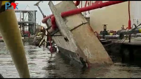 Port Autonome de Dakar: le Quai 910 du Mole 9 s'affaisse et emporte plusieurs réserves de la société Oryx (Vidéo)