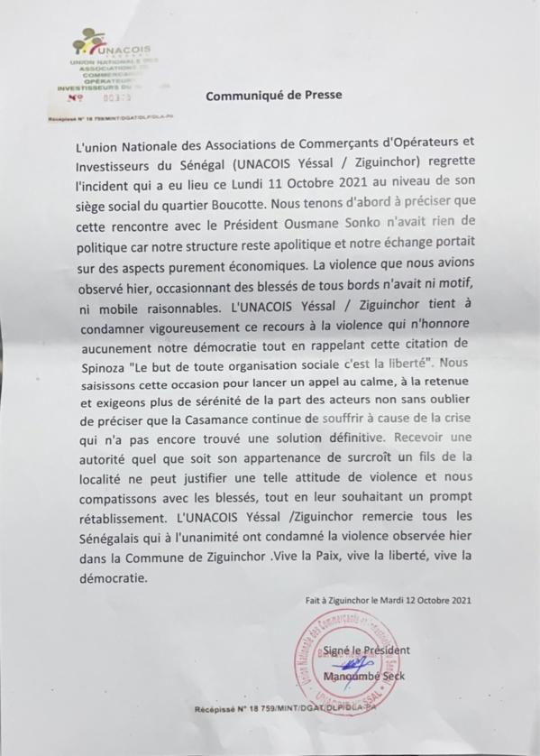 """Les précisions de  l'Unacois """"Yessal"""" : «Notre rencontre avec Ousmane Sonko n'avait rien de politique» (DOCUMENT)"""