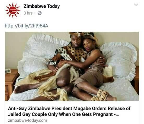 Mugabé maintient en prison un couple d'homosexuels. Il ne les libérera que lorsque l'un des hommes tombera enceint(e)