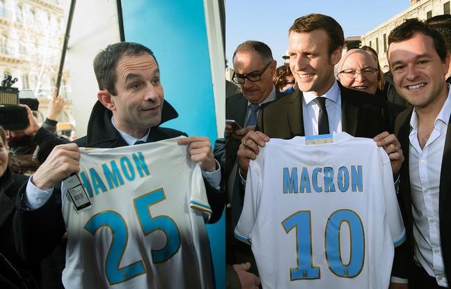 Présidentielle: Emmanuel Macron et Benoît Hamon fans de l'OM?