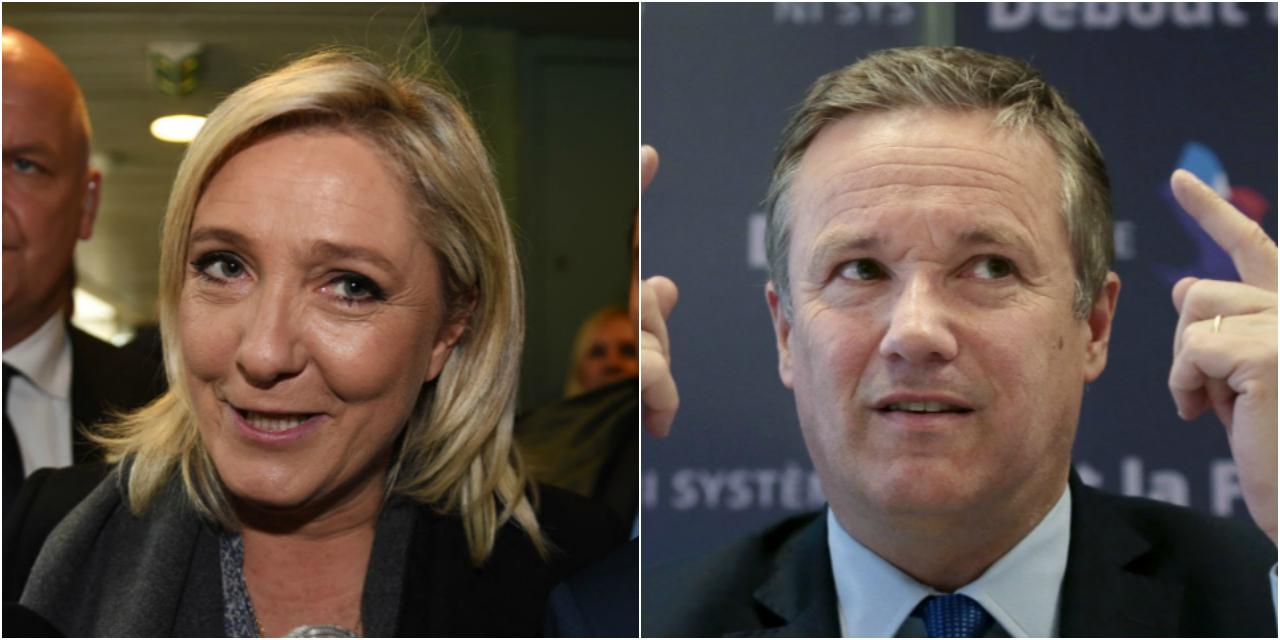 """Présidentielle : """"Je soutiendrai Marine Le Pen, je ferai campagne avec elle"""", annonce Nicolas Dupont-Aignan"""
