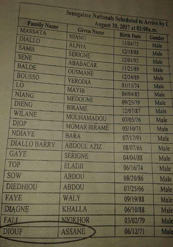 Le document officiel américain qui confirme l'arrivée des 20 sénégalais rapatriés des USA dont Assane Diouf