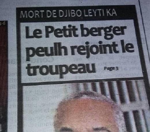 Dérapage d'un journal sur le décès de Djibo Ka