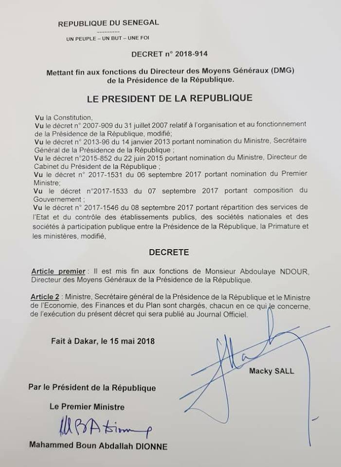 Macky Sall vire le DAGE de la Présidence de la république