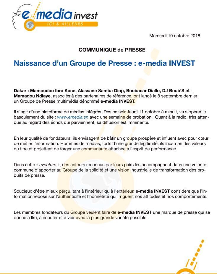 """Exclusif: Alassane Samba Diop et Mamadou Ibra Kane lancent """" E-média Invest"""" avec un capital de 200 millions"""