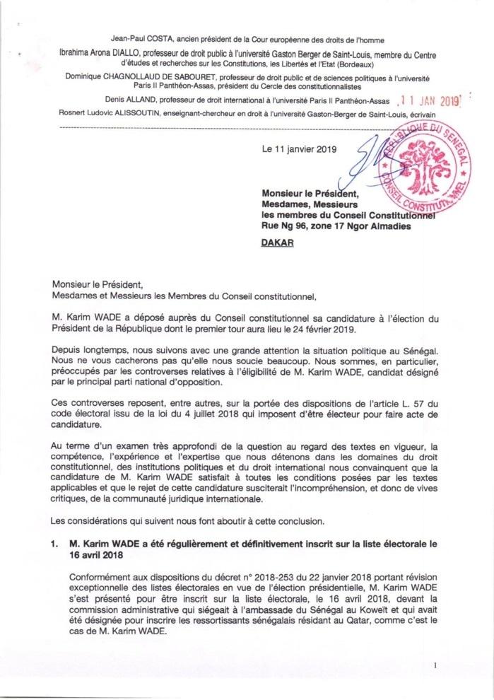 Candidature de Karim Wade: d'éminents juristes internationaux écrivent au Conseil constitutionnel