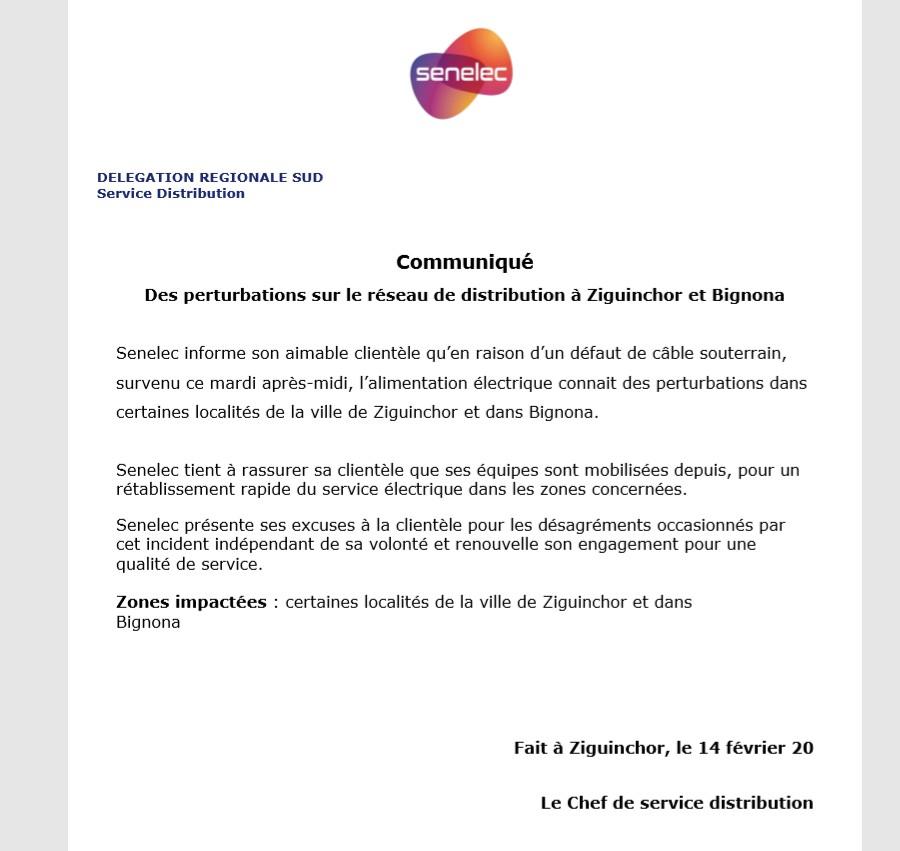 Bignona sans électricité depuis 48H: La Senelec se prononce (Document)