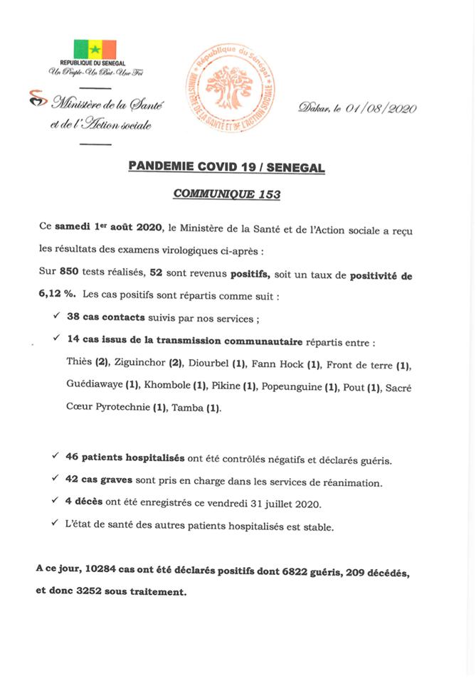 Covid-19 au Sénégal : 4 décès, 52 nouveaux tests positifs et 42 cas graves