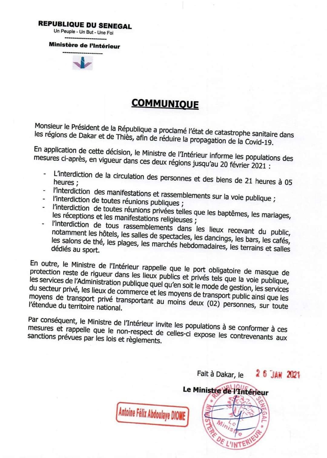 Le couvre feu maintenu jusqu'au 20 février (Ministre de l'intérieur )