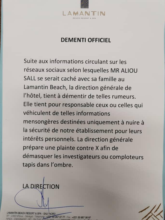 """Aliou Sall se cache avec sa famille au """"Lamantin Beach"""" : La direction de l'hotel dément"""