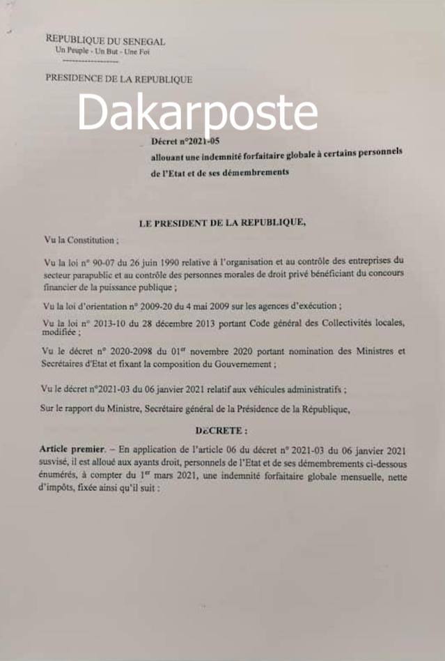 """Indemnité forfaitaire mensuelle : Macky Sall """"gâte""""  les DG, SG, PCA..."""