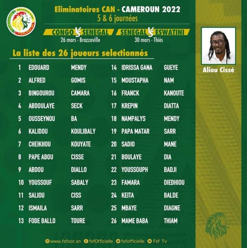 Équipe nationale de football:  5 nouveaux joueurs convoqués par Aliou Cissé