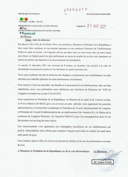 Décès de 4 bébés : Le directeur de l'hôpital Magatte Lô, démissionne