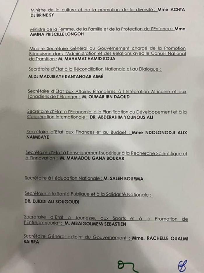 Nouveau gouvernement au Tchad:  La junte publie une liste de 40 ministres