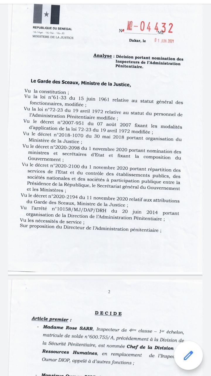 Évasion de Boy Djinné : Le Directeur de la prison du Camp Pénal limogé (Documents)