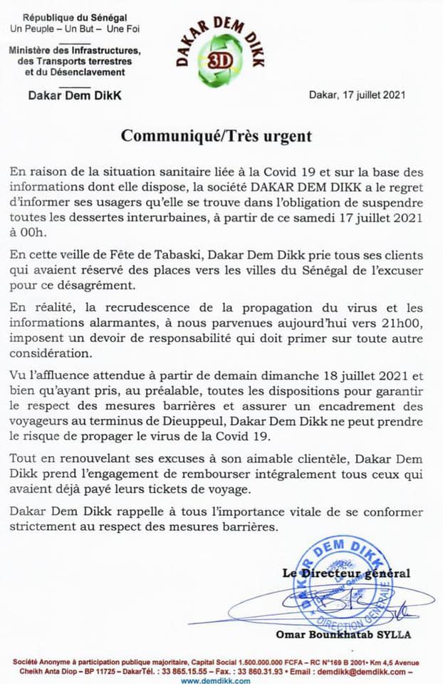 """URGENT : La société """"Dakar Dem Dikk"""" suspend ses désertes interurbaines (Document)"""