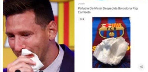 Le mouchoir utilisé par Messi lors de ses adieux au Barça... mis en vente 1 million de dollars