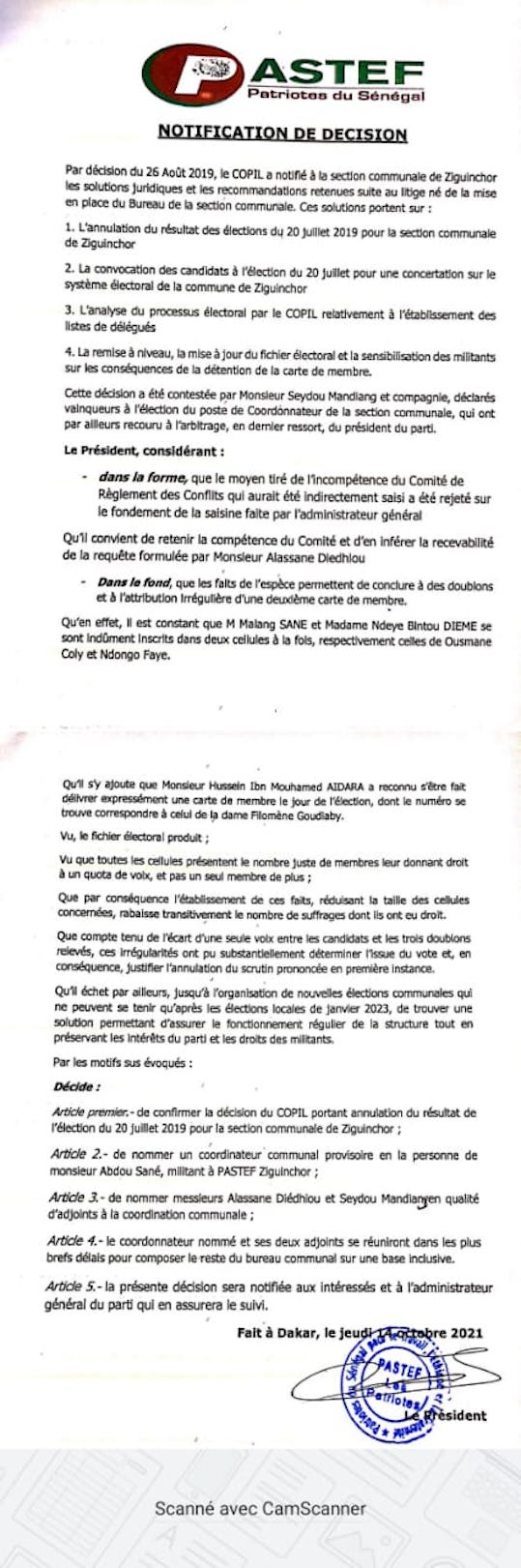 Ziguinchor : Abdou Sané nommé Coordinateur communal de PASTEF (DOCUMENT)