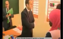 """Une élève dément le gouvernement de Macky devant Macron: """"dés fois on s'assoit à 4 sur une même table..."""" (Regardez)"""