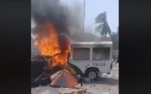 Dernière minute :un véhicule de la police brûlé à l'UCAD (Regardez)